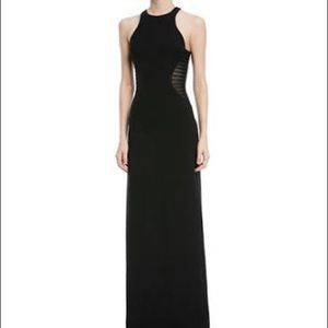 Halston Heritage Side striped Appliqué Gown